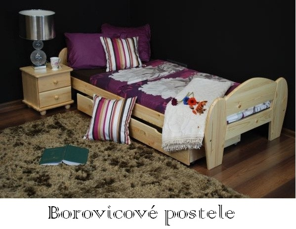 Borovicová posteľ z masívu 90 x 200